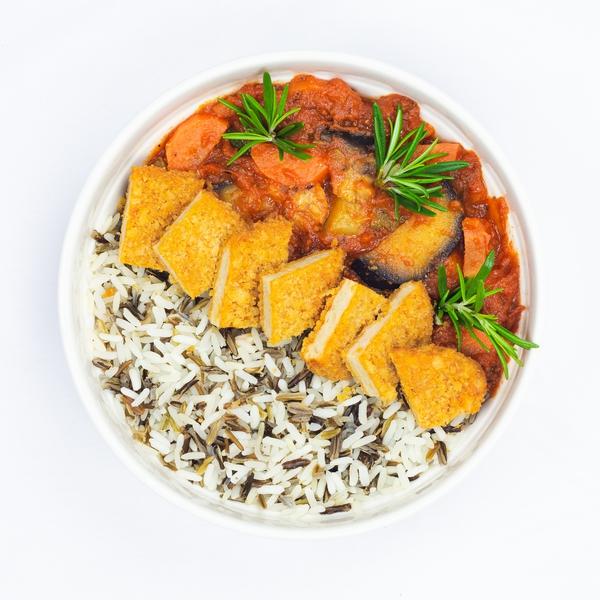 Nuggets végé et sa ratatouille, riz sauvage