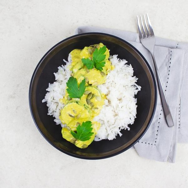 Curry de courgette et graines de courges, riz basmati