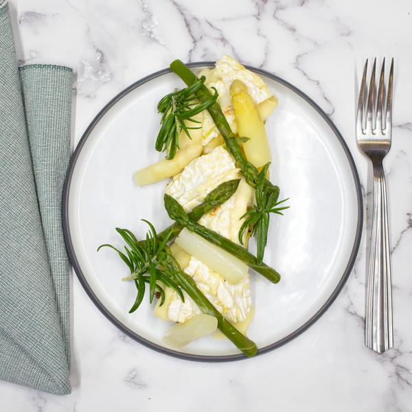 Camembert rôti, Asperges et pomme de terre au four