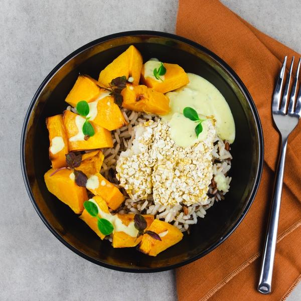 Poisson pané et butternut rôti, riz sauvage